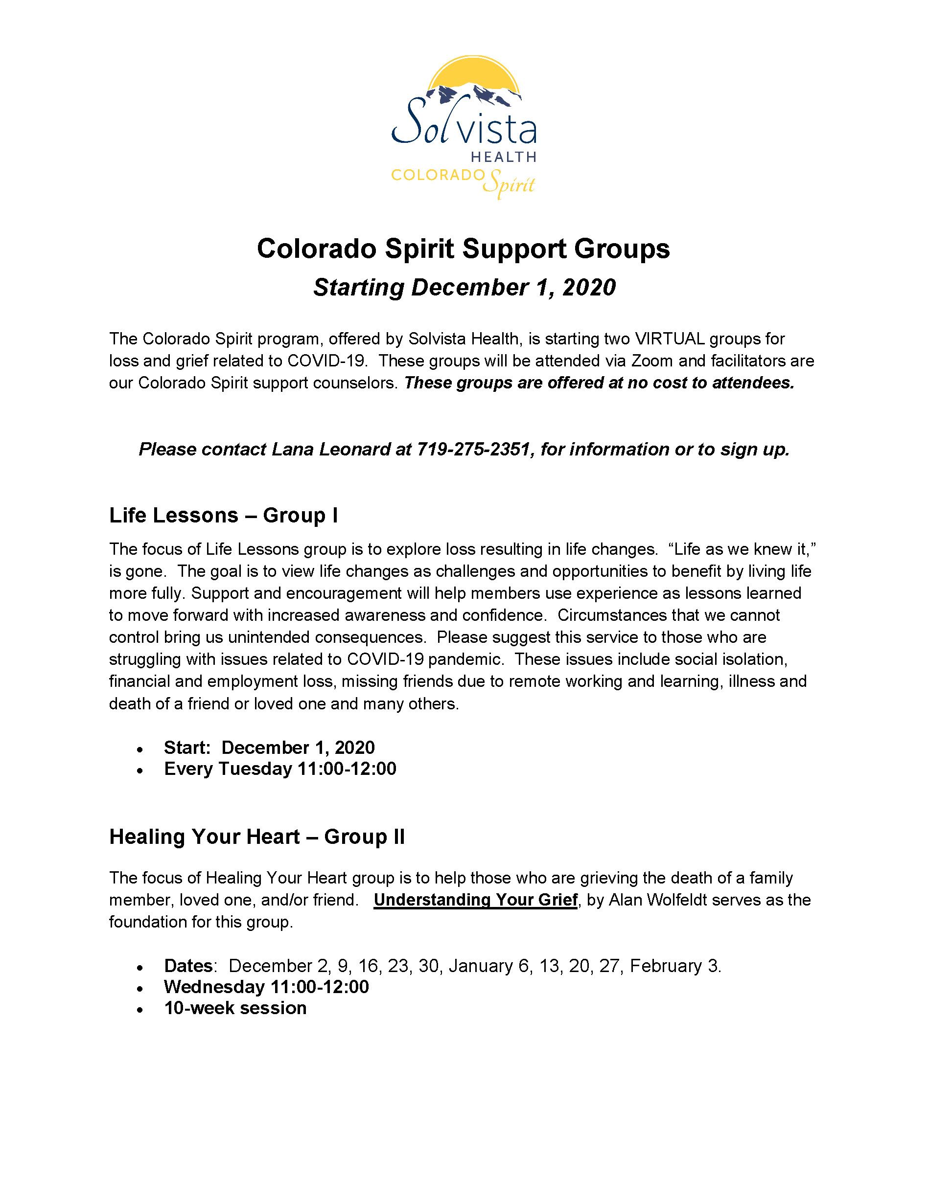 December Support Groups CO SPIRIT Flyer