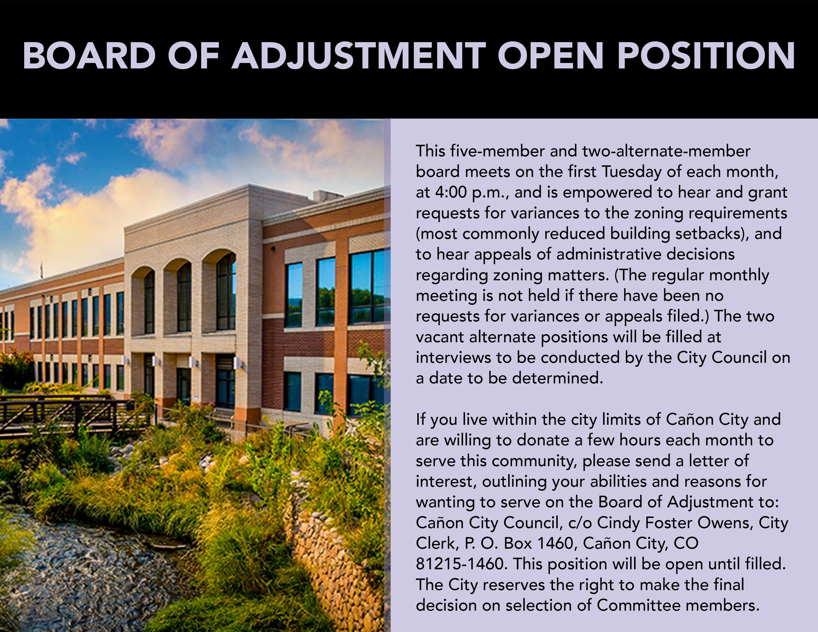Board of Adjustment opening annoucement