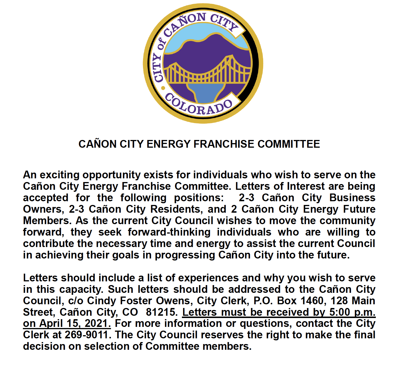 Energy Franchise Committee Notice
